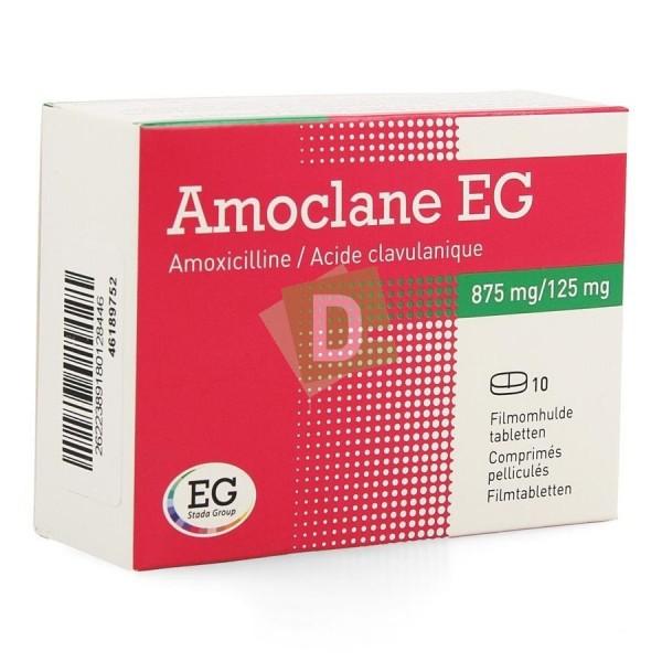 Amoclane EG 875 mg / 125 mg x 10 Comprimés pelliculés