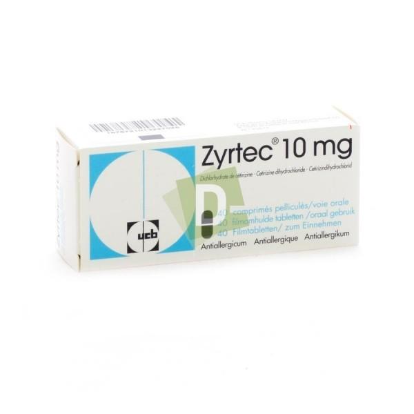 Zyrtec 10 mg x 40 Comprimés pelliculés