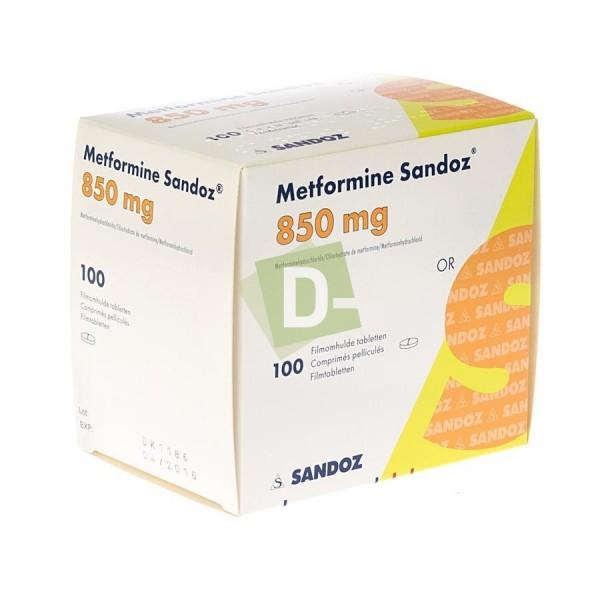 Metformin Sandoz 850 mg x 100 Film-coated tablets: Helps to treat Diabetes