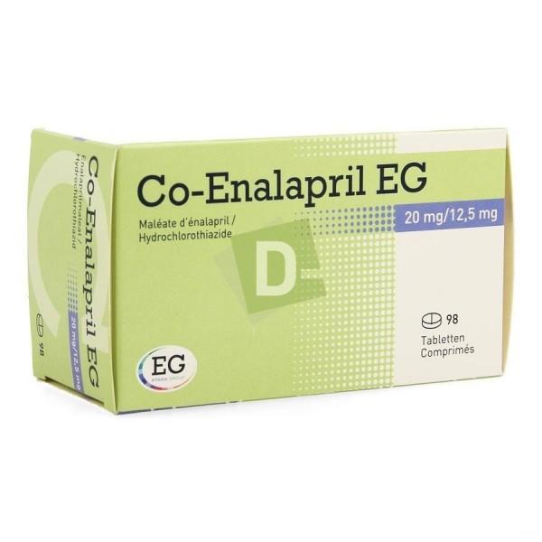 Co-Enalapril EG 20 mg/ 12,5 mg x 98 Comprimés : Aide à soigner l'hypertension essentielle