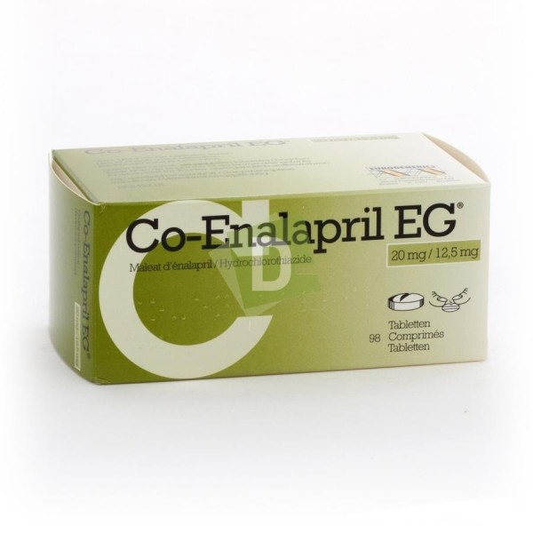 Co-Enalapril EG 20 mg / 12.5 mg x 98 Tablets: Helps treat essential hypertension