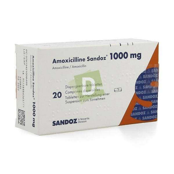 Amoxicilline Sandoz 1000 mg x 20 Comprimés dispersibles