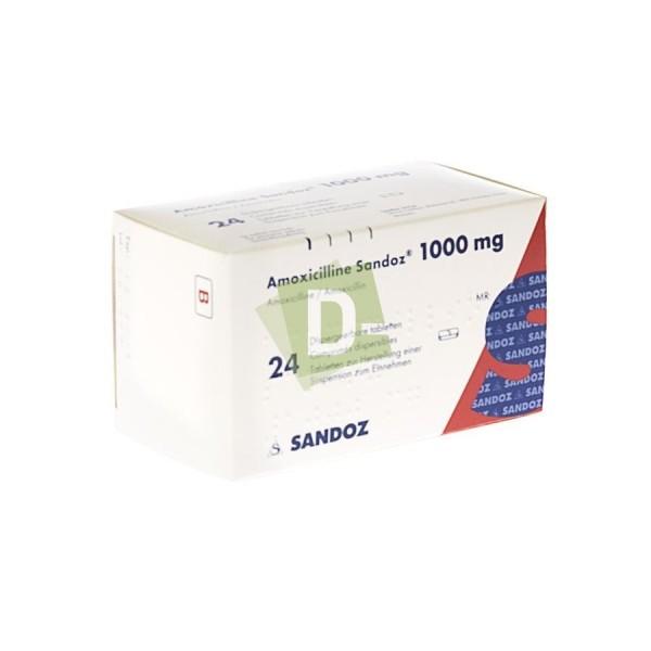 Amoxicillin Sandoz 1000 mg x 24 scored tablets