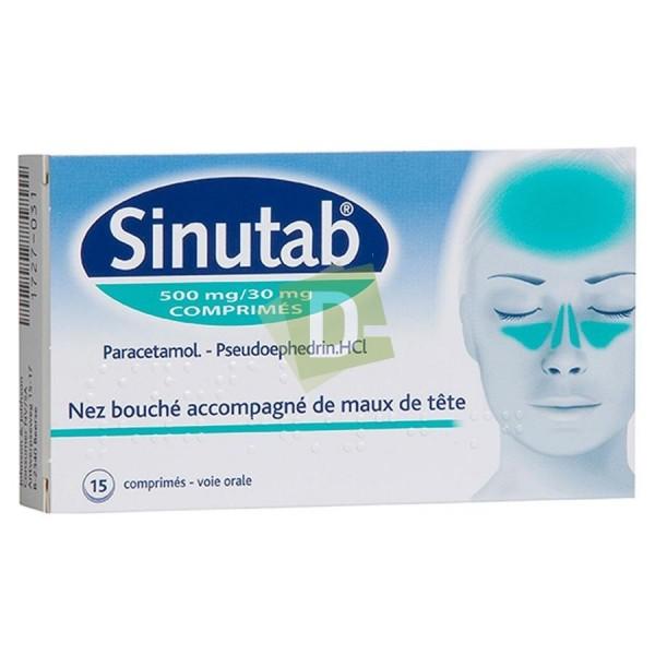 Sinutab 500 mg / 30 mg x 15 Comprimés : Soulage le nez bouché accompagné de maux de tête