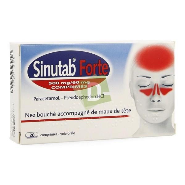 Sinutab Forte 500 mg / 60 mg x 20 Comprimés : Soulage le nez bouché accompagné de maux de tête