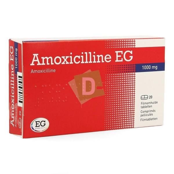 Amoxicillin EG 1000 mg x 20 scored tablets