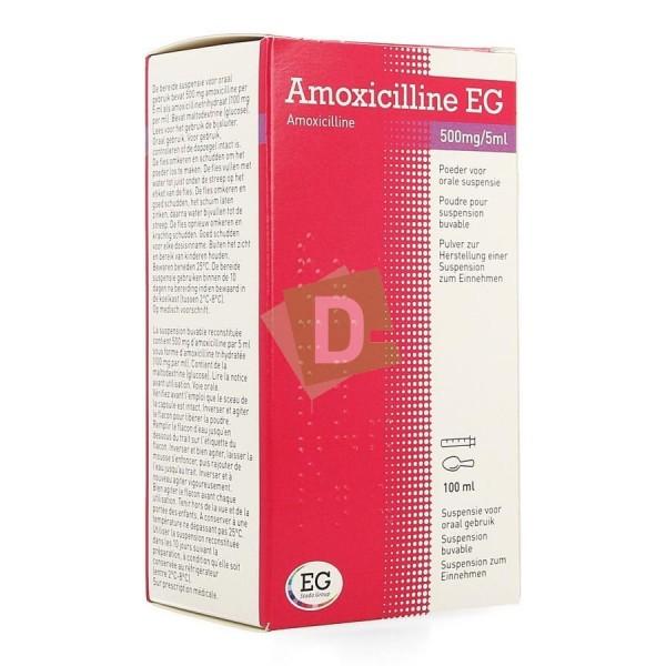 Amoxicilline EG 500 mg / 5 ml Sirop 100 ml