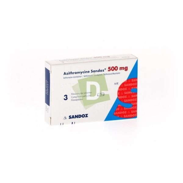 Azithromycine Sandoz 500 mg x 3 Comprimés : Traite les infections des voies respiratoires