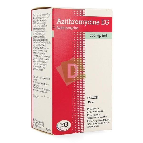 Azithromycin EG 200 mg / 5 ml Oral suspension (Syrup) 15 ml