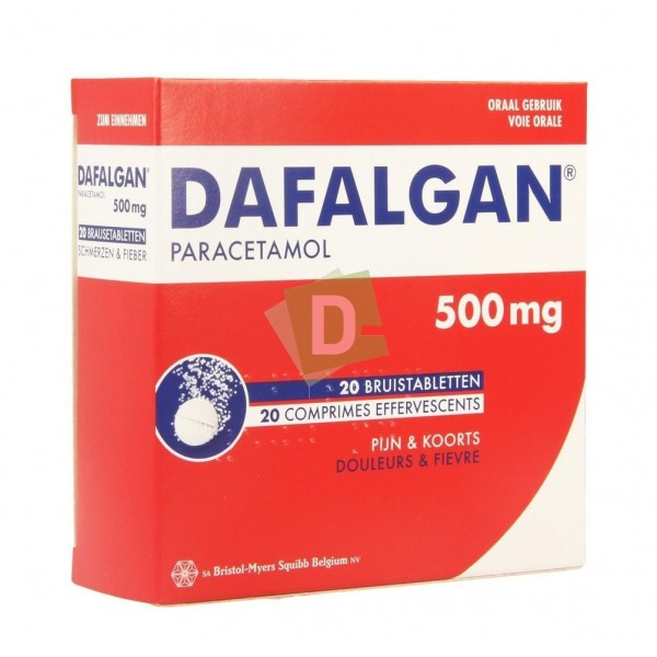 Dafalgan (Paracétamol) 500 mg x 20 Comprimés Efferv : Contre la douleur et la fièvre