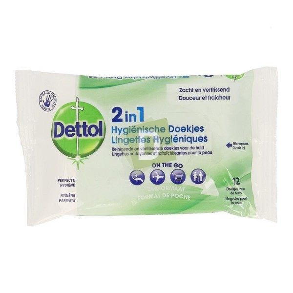 Dettol 2 in 1 Hygienic Wipes x 12 Pieces