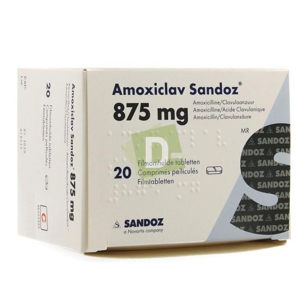 Amoxiclav Sandoz 875 mg x 20 Comprimés pelliculés