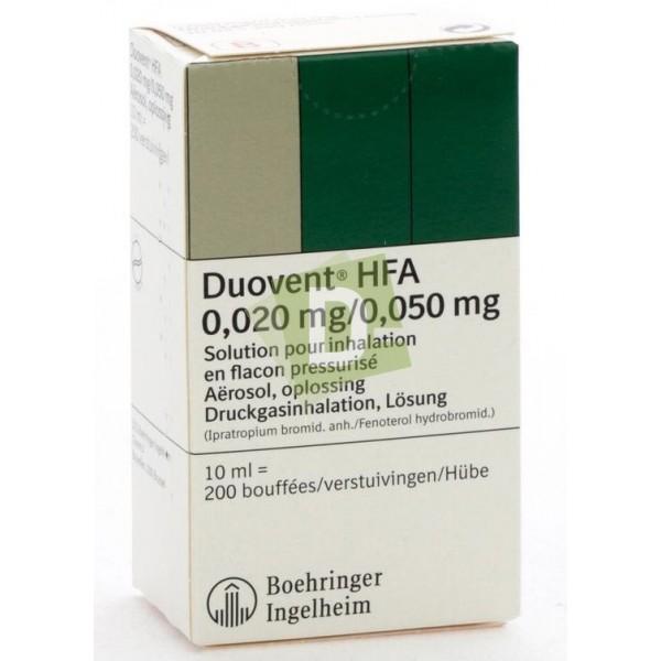 Duovent HFA 0.020 mg / 0.050mg Aerosol 10 ml (200 Doses)