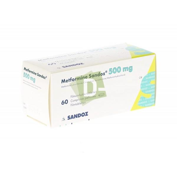 Metformine Sandoz 500 mg x 60 Comprimés pelliculés