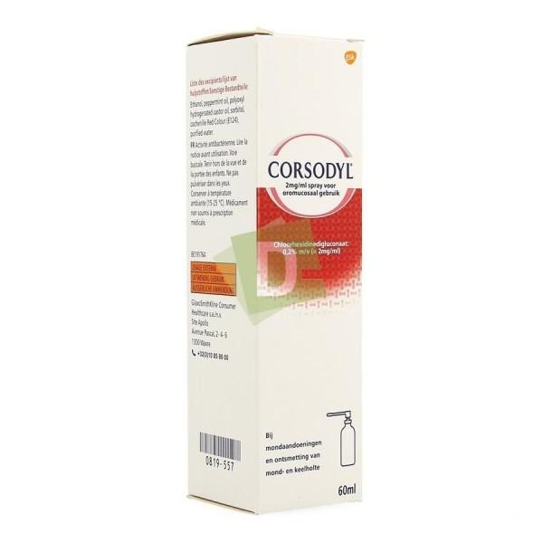 Corsodyl 2 mg / ml Spray 60 ml