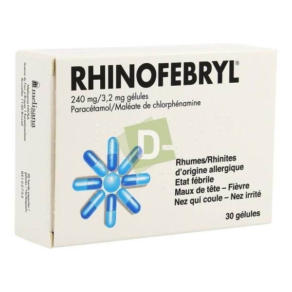 Rhinofébryl x 30 Gélules : Contre les états fébriles, maux de tête, fièvre