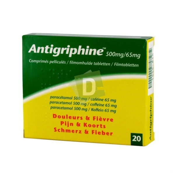 Antigriphine 500 mg / 65 mg x 20 Film-coated tablets: Combats pain and fever