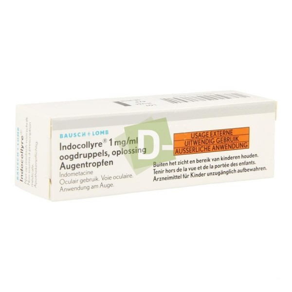 Indocollyre 1 mg / ml Solution ophtalmique 5 ml