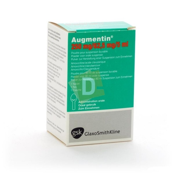 Augmentin 250 mg / 62.5 mg / 5 ml Drinkable Suspension Syrup 80 ml
