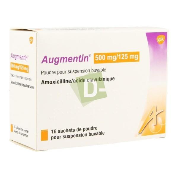 Augmentin 500 mg / 125 mg x 16 Sachets poudre buvable