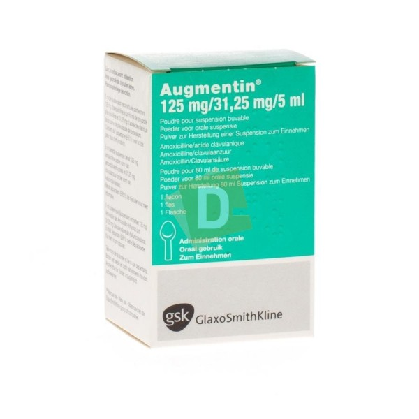 Augmentin 125 mg / 31.25 mg / 5 ml Drinkable Suspension Syrup 80 ml