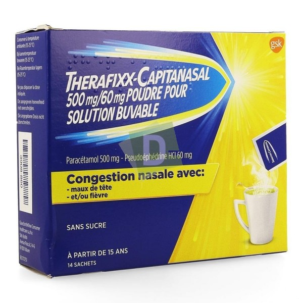 Therafixx-Capitanasal 500 mg / 60 mg Solution Buvable Sans Sucre x 14 Sachets