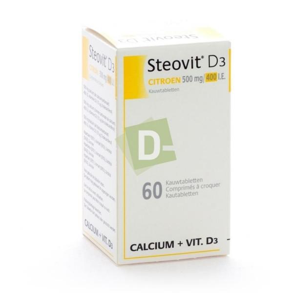 Steovit D3 Citron 500 mg / 400 Ui x 60 Comprimés à croquer