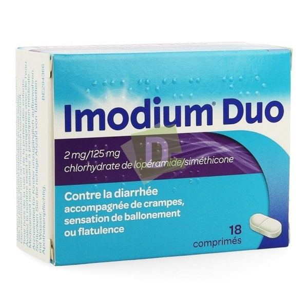 Imodium Duo x 18 Tablets: Against diarrhea accompanied by cramps, bloating and flatulence