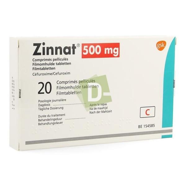 Zinnat 500 mg x 20 Comprimés pelliculés